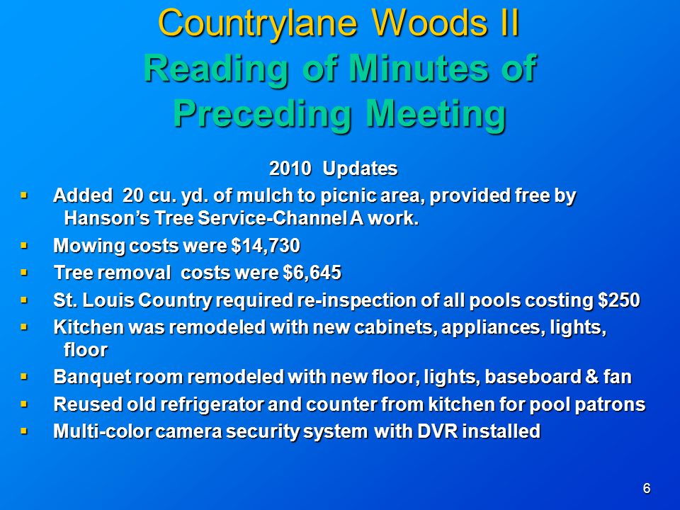 6 Countrylane Woods II Reading of Minutes of Preceding Meeting 2010 Updates Added 20 cu.