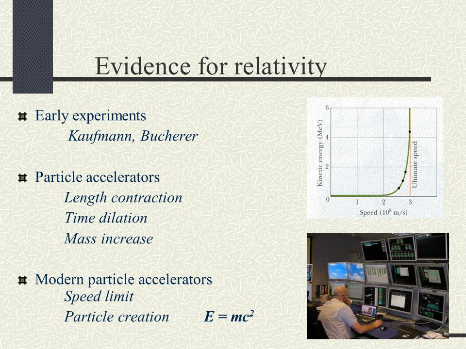 Early experiments Kaufmann, Bucherer Particle accelerators Length contraction Time dilation Mass increase Modern particle accelerators Speed limit Particle creation E = mc 2 Evidence for relativity