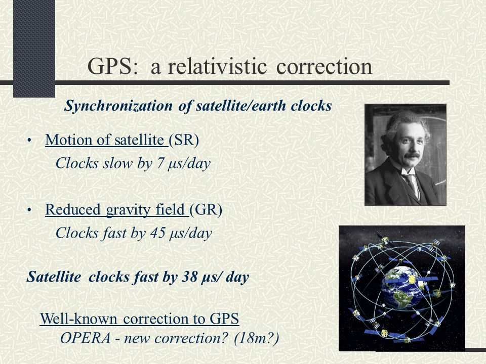 GPS: a relativistic correction Motion of satellite (SR) Clocks slow by 7 μs/day Reduced gravity field (GR) Clocks fast by 45 μs/day Satellite clocks fast by 38 μs/ day Well-known correction to GPS OPERA - new correction.