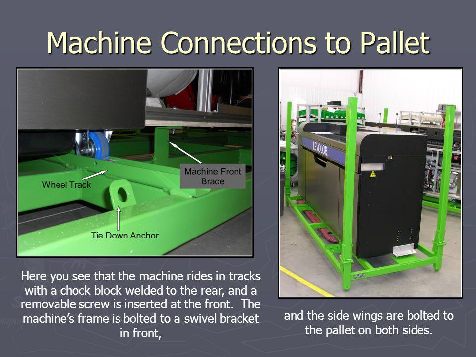 Machine Connections to Pallet Here you see that the machine rides in tracks with a chock block welded to the rear, and a removable screw is inserted at the front.