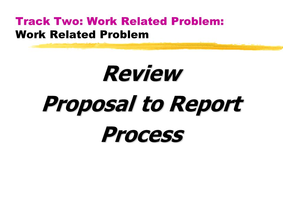 Track Two: Work Related Problem: Work Related Problem Review Proposal to Report Process
