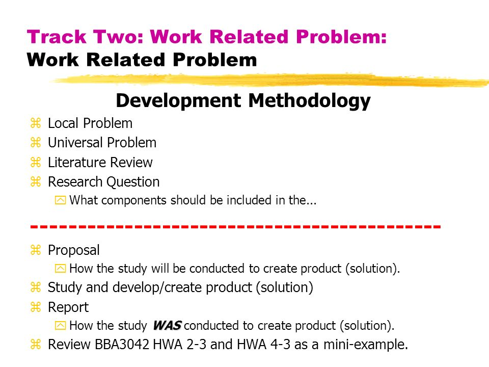 Track Two: Work Related Problem: Work Related Problem Development Methodology zLocal Problem zUniversal Problem zLiterature Review zResearch Question yWhat components should be included in the...