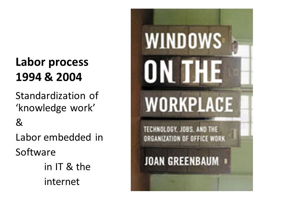 Labor process 1994 & 2004 Standardization of knowledge work & Labor embedded in Software in IT & the internet