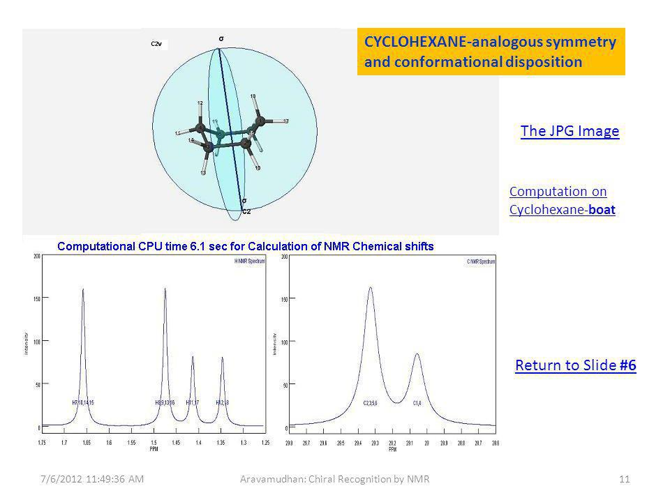 The JPG Image Computation on Cyclohexane-boat 7/6/ :49:36 AM11Aravamudhan: Chiral Recognition by NMR CYCLOHEXANE-analogous symmetry and conformational disposition Return to Slide #6