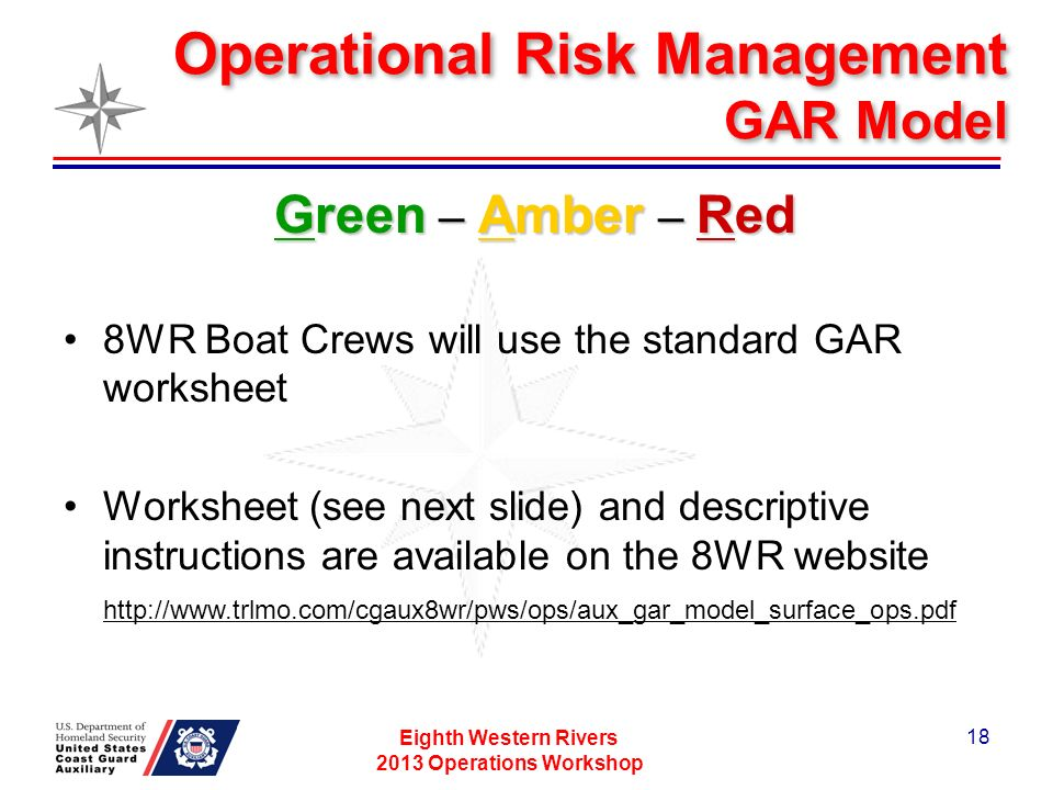 Operational Risk Management GAR Model Eighth Western Rivers 2013 Operations Workshop 18 Green – Amber – Red 8WR Boat Crews will use the standard GAR worksheet Worksheet (see next slide) and descriptive instructions are available on the 8WR website http://www.trlmo.com/cgaux8wr/pws/ops/aux_gar_model_surface_ops.pdf