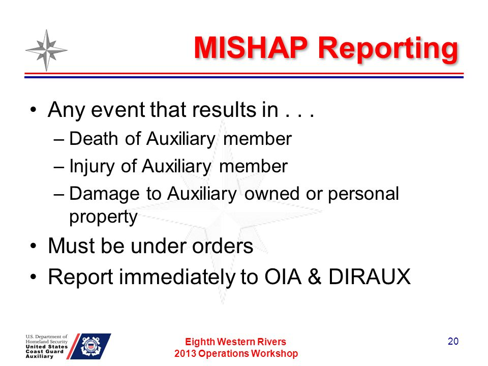 MISHAP Reporting Any event that results in...