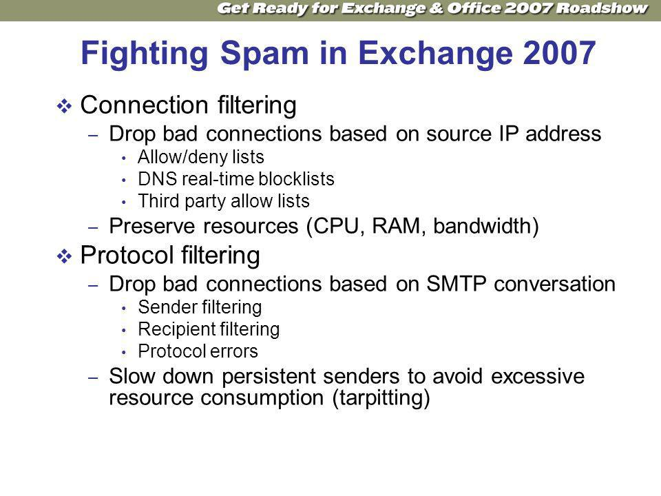 Fighting Spam in Exchange 2007 Connection filtering – Drop bad connections based on source IP address Allow/deny lists DNS real-time blocklists Third party allow lists – Preserve resources (CPU, RAM, bandwidth) Protocol filtering – Drop bad connections based on SMTP conversation Sender filtering Recipient filtering Protocol errors – Slow down persistent senders to avoid excessive resource consumption (tarpitting)
