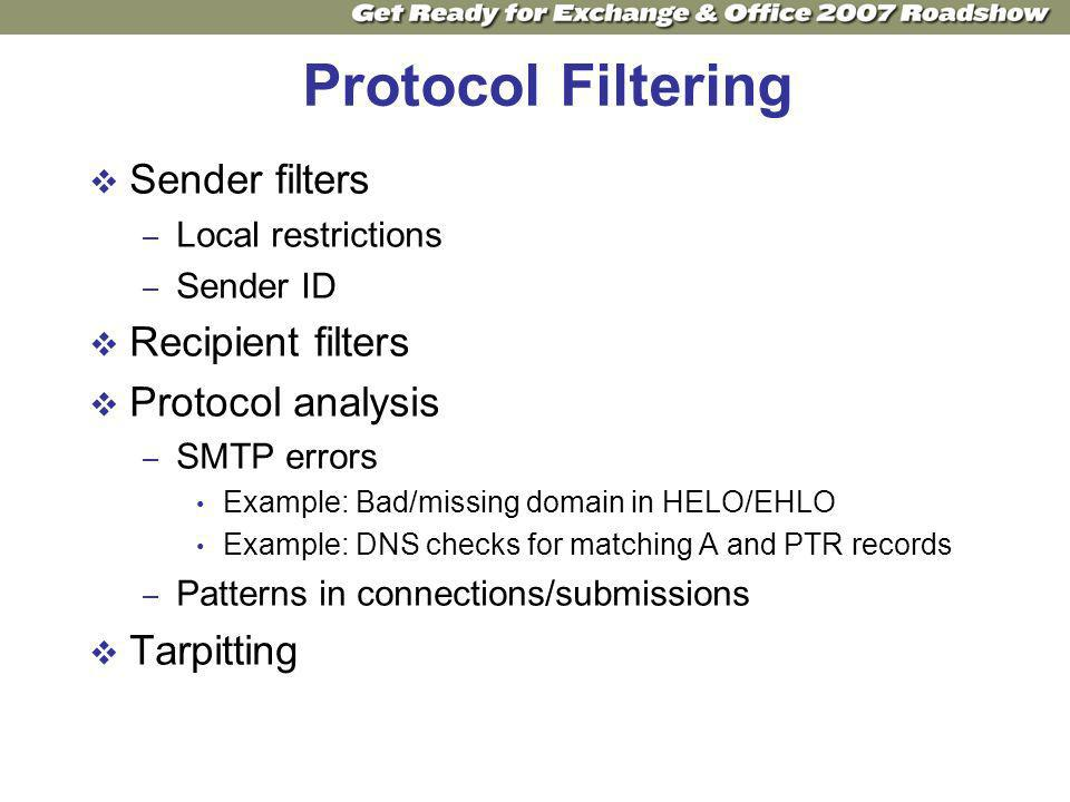 Protocol Filtering Sender filters – Local restrictions – Sender ID Recipient filters Protocol analysis – SMTP errors Example: Bad/missing domain in HELO/EHLO Example: DNS checks for matching A and PTR records – Patterns in connections/submissions Tarpitting