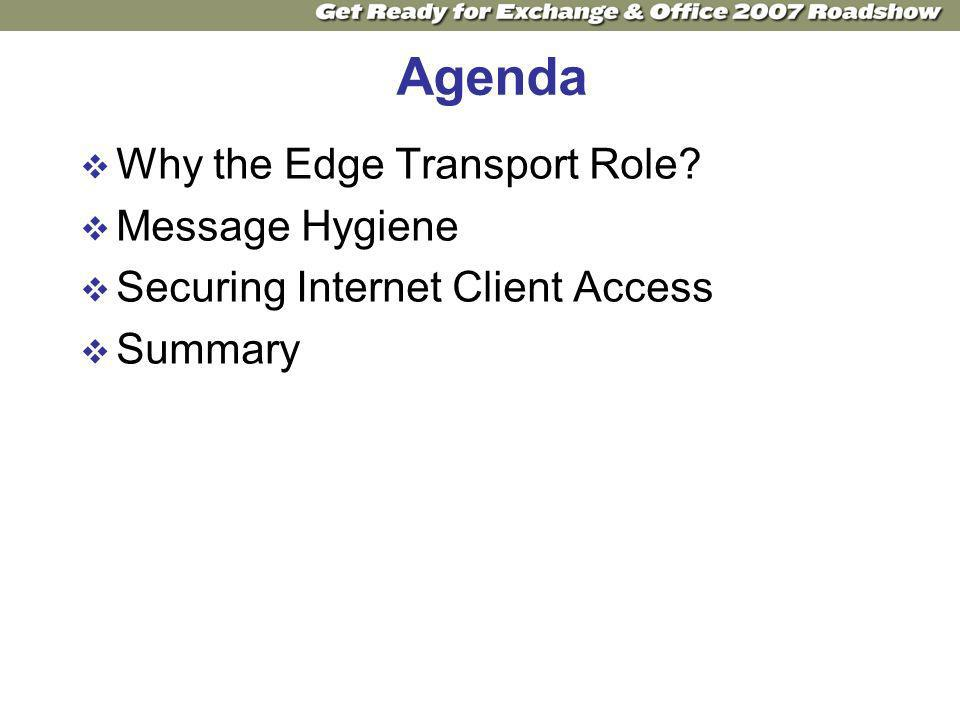 Agenda Why the Edge Transport Role Message Hygiene Securing Internet Client Access Summary