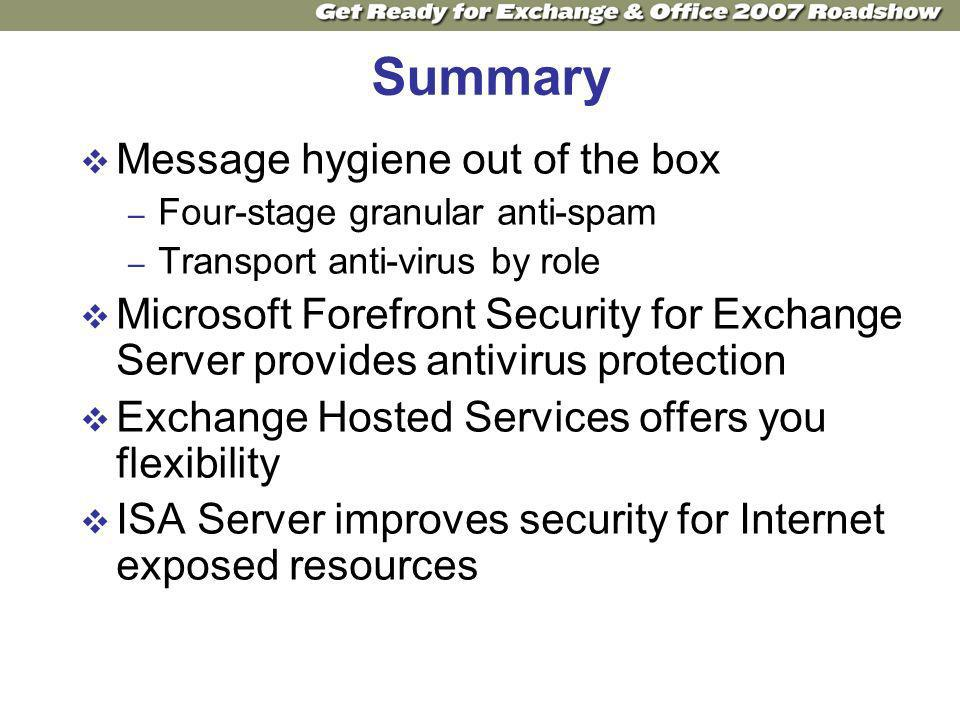 Summary Message hygiene out of the box – Four-stage granular anti-spam – Transport anti-virus by role Microsoft Forefront Security for Exchange Server provides antivirus protection Exchange Hosted Services offers you flexibility ISA Server improves security for Internet exposed resources