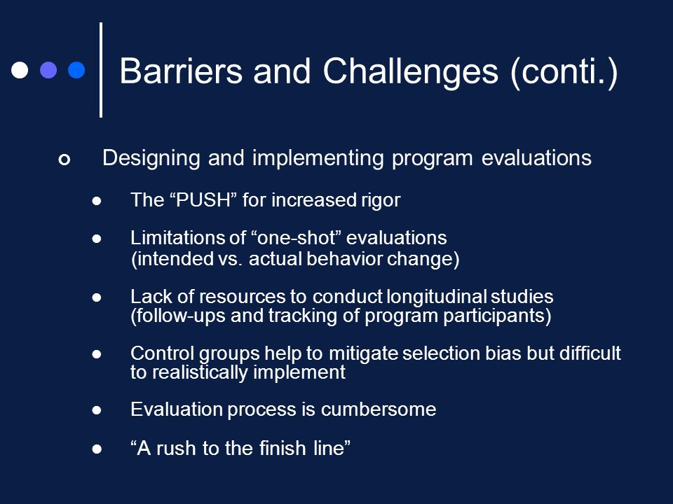 Designing and implementing program evaluations The PUSH for increased rigor Limitations of one-shot evaluations (intended vs.