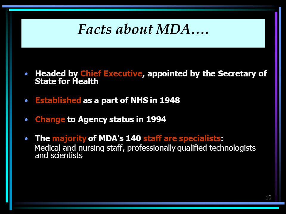 10 Facts about MDA….