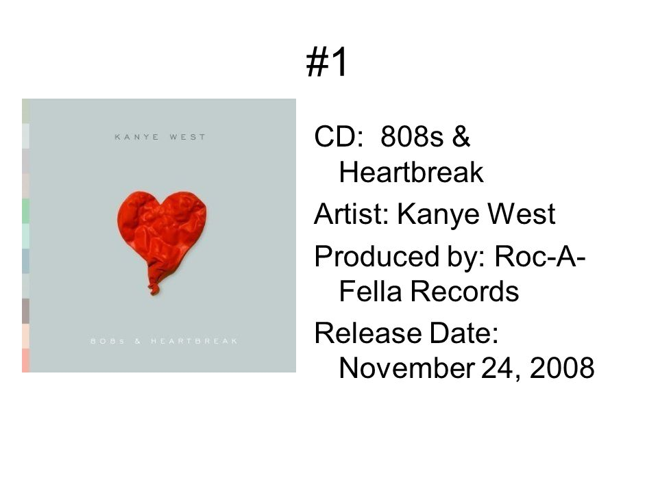 #1 CD: 808s & Heartbreak Artist: Kanye West Produced by: Roc-A- Fella Records Release Date: November 24, 2008