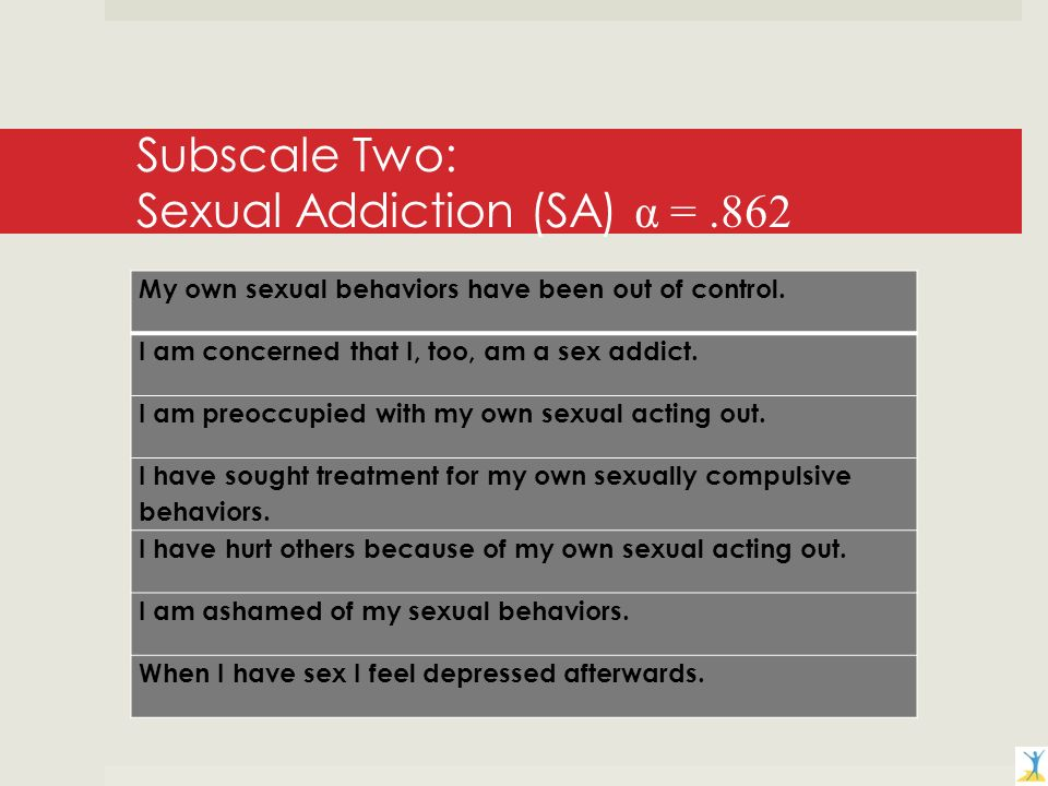 Subscale Two: Sexual Addiction (SA) α =.862 My own sexual behaviors have been out of control.