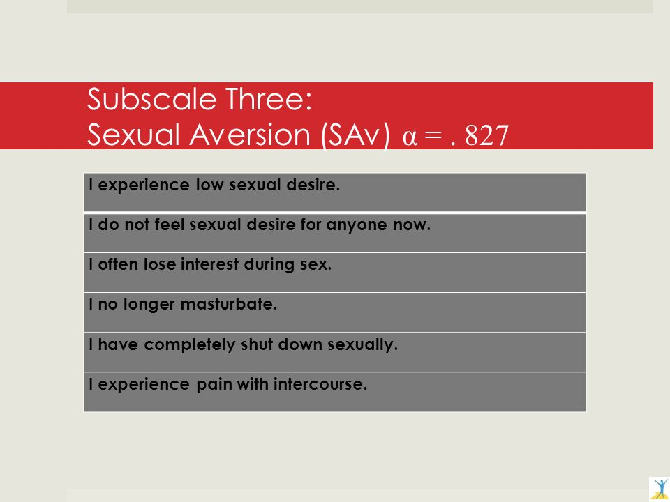 Subscale Three: Sexual Aversion (SAv) α =. 827 I experience low sexual desire.