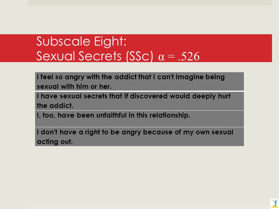 Subscale Eight: Sexual Secrets (SSc) α =.526 I feel so angry with the addict that I can t imagine being sexual with him or her.