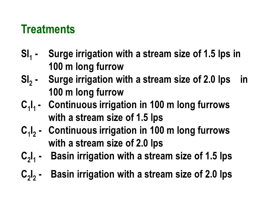 Treatments SI 1 - Surge irrigation with a stream size of 1.5 lps in 100 m long furrow SI 2 - Surge irrigation with a stream size of 2.0 lps in 100 m long furrow C 1 I 1 - Continuous irrigation in 100 m long furrows with a stream size of 1.5 lps C 1 I 2 - Continuous irrigation in 100 m long furrows with a stream size of 2.0 lps C 2 I 1 - Basin irrigation with a stream size of 1.5 lps C 2 I 2 - Basin irrigation with a stream size of 2.0 lps