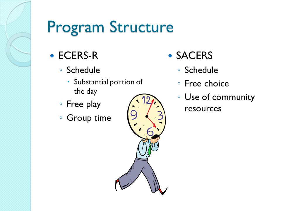 Program Structure ECERS-R Schedule Substantial portion of the day Free play Group time SACERS Schedule Free choice Use of community resources
