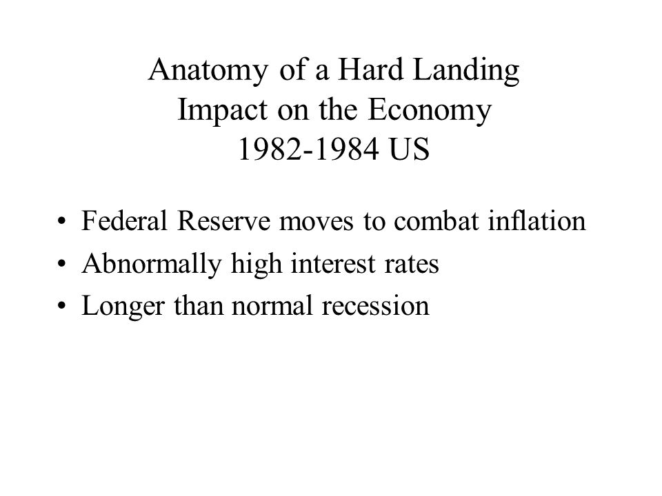Anatomy of a Hard Landing Impact on the Economy US Federal Reserve moves to combat inflation Abnormally high interest rates Longer than normal recession