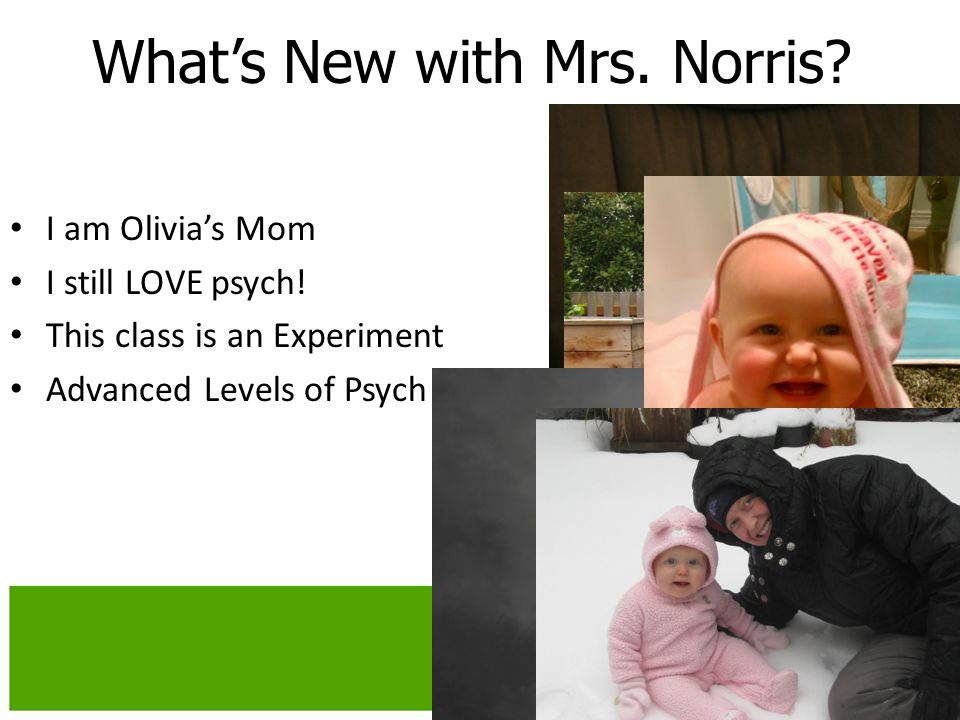 Whats New with Mrs. Norris. I am Olivias Mom I still LOVE psych.