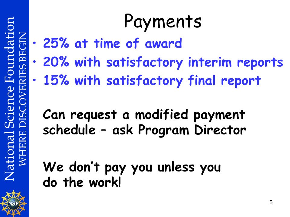 National Science Foundation WHERE DISCOVERIES BEGIN 5 Payments 25% at time of award 20% with satisfactory interim reports 15% with satisfactory final report Can request a modified payment schedule – ask Program Director We dont pay you unless you do the work!