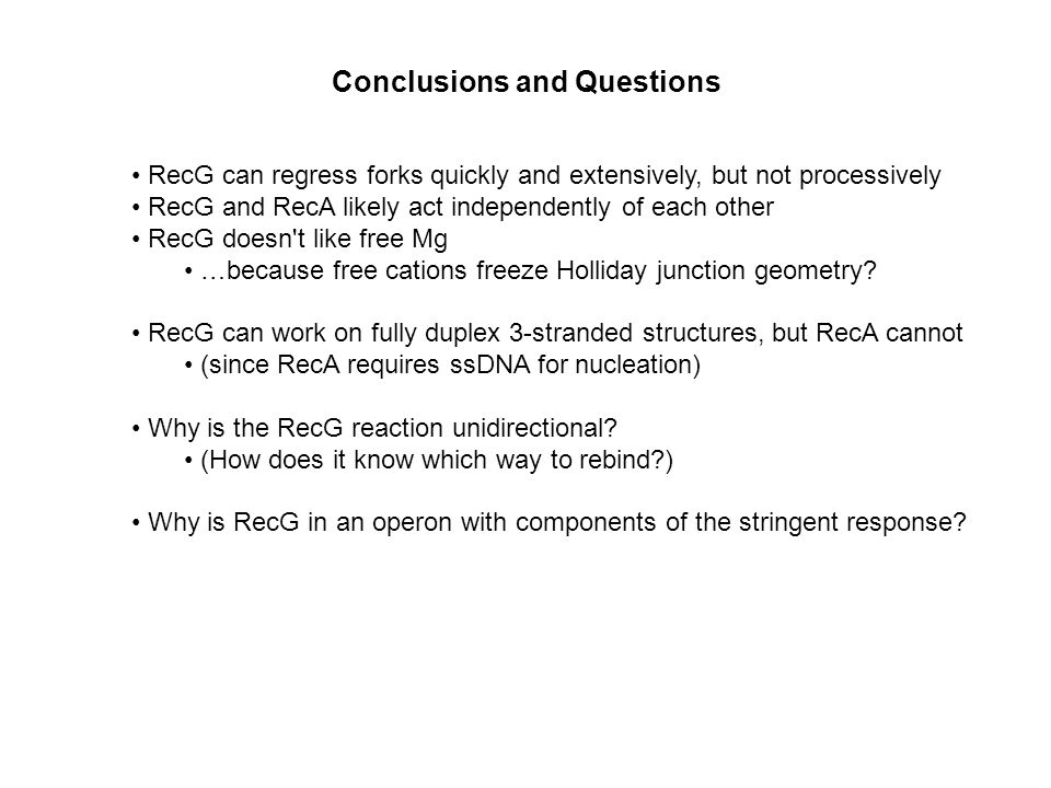 Conclusions and Questions RecG can regress forks quickly and extensively, but not processively RecG and RecA likely act independently of each other RecG doesn t like free Mg …because free cations freeze Holliday junction geometry.