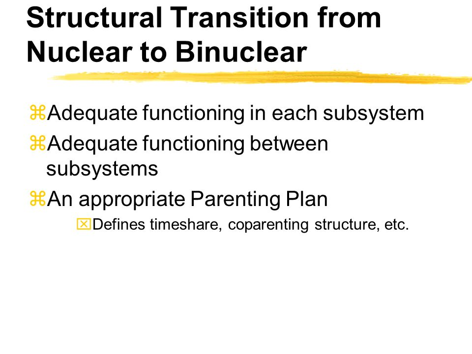 Structural Transition from Nuclear to Binuclear zAdequate functioning in each subsystem zAdequate functioning between subsystems zAn appropriate Parenting Plan xDefines timeshare, coparenting structure, etc.