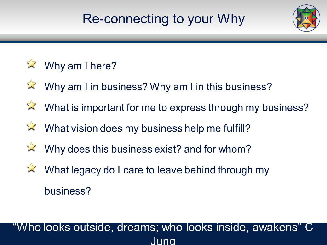 Re-connecting to your Why Who looks outside, dreams; who looks inside, awakens C Jung Why am I here.
