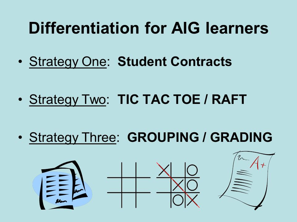 Differentiation for AIG learners Strategy One: Student Contracts Strategy Two: TIC TAC TOE / RAFT Strategy Three: GROUPING / GRADING