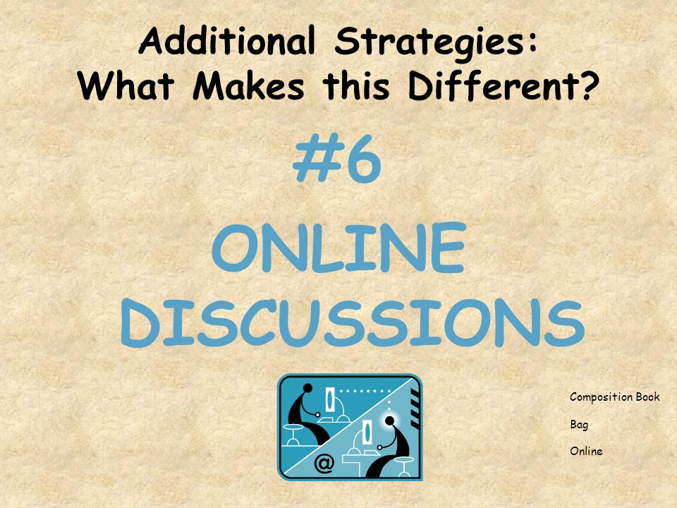 Additional Strategies: What Makes this Different #6 ONLINE DISCUSSIONS Composition Book Bag Online