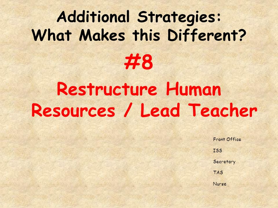 Additional Strategies: What Makes this Different.