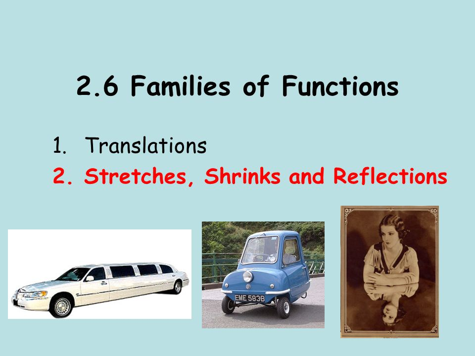 2.6 Families of Functions 1.Translations 2.Stretches, Shrinks and Reflections