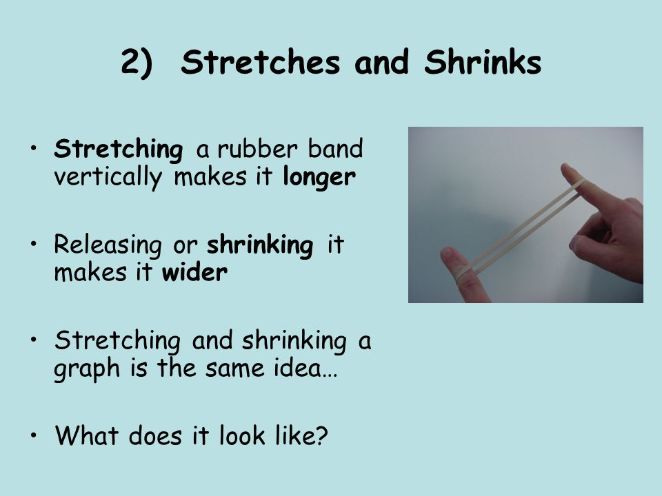 2) Stretches and Shrinks Stretching a rubber band vertically makes it longer Releasing or shrinking it makes it wider Stretching and shrinking a graph is the same idea… What does it look like