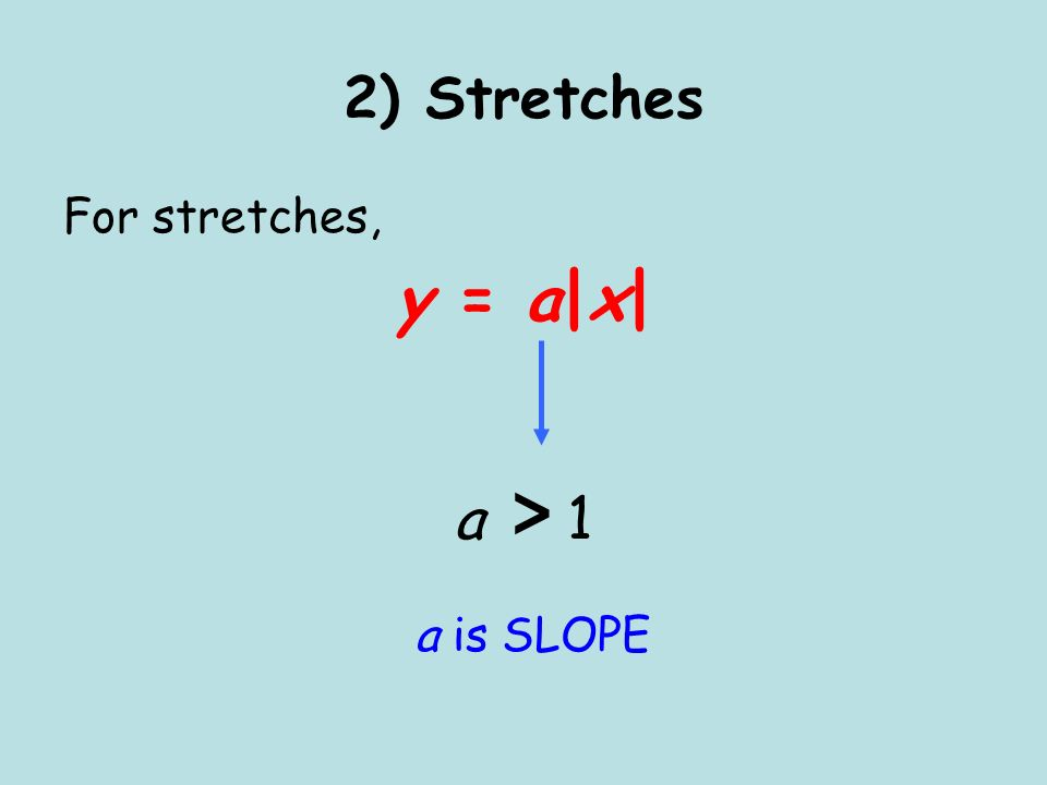 2) Stretches For stretches, y = a|x| a > 1 a is SLOPE