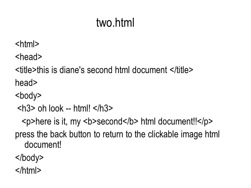 two.html this is diane s second html document head> oh look -- html.