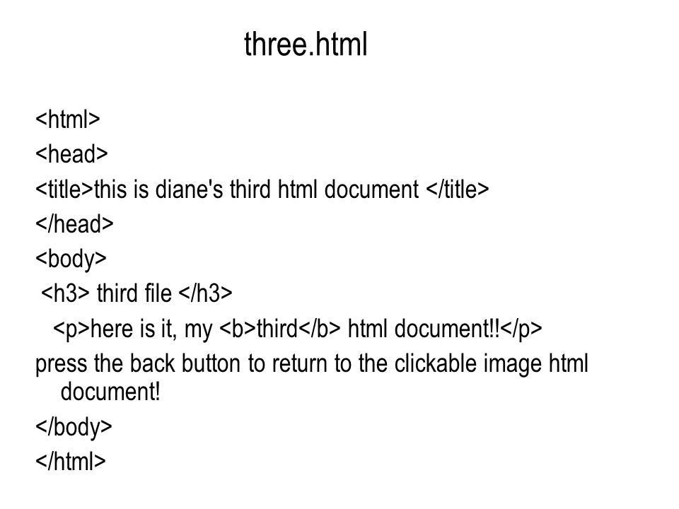 three.html this is diane s third html document third file here is it, my third html document!.