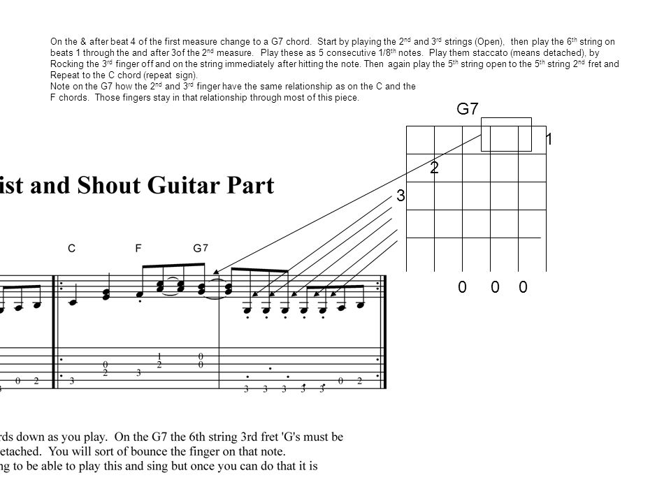 G7 On the & after beat 4 of the first measure change to a G7 chord.