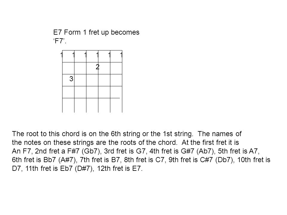 E7 Form 1 fret up becomes F7.