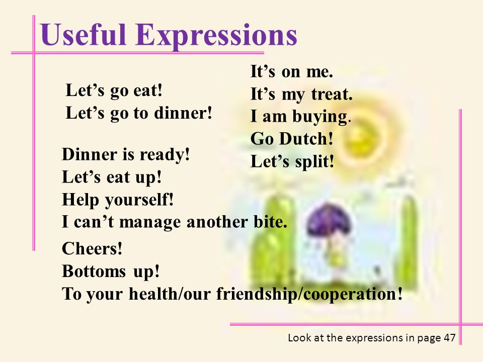 Useful Expressions Meals breakfast brunch lunch supper mid-night snack dinner banquet buffet barbeque Order of the food served Soup Appetizer Main course Dessert Tea & Coffee