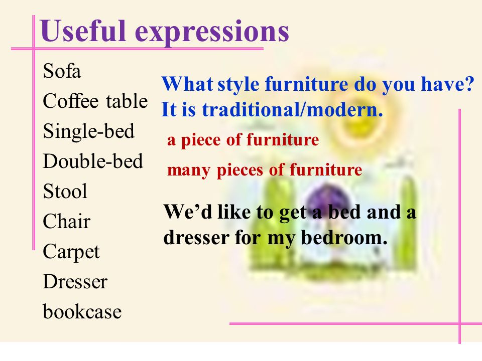 Useful expressions a furnished house an unfurnished apartment a plain house a decorated apartment
