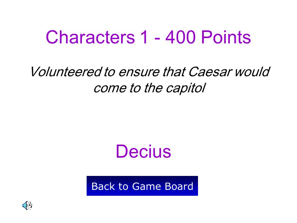 Decius Back to Game Board Characters 1 - 400 Points Volunteered to ensure that Caesar would come to the capitol