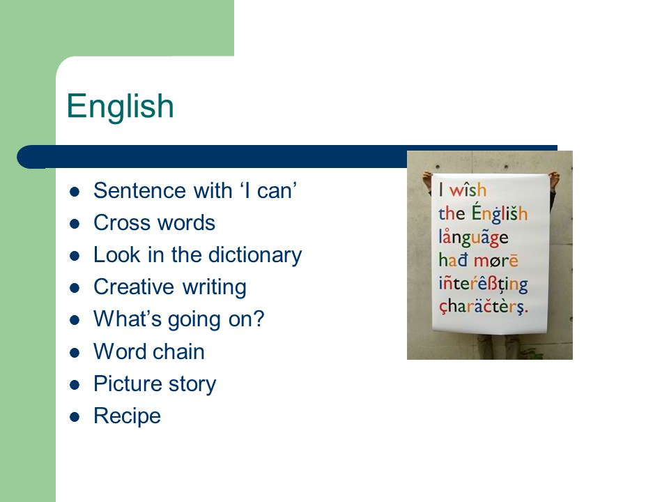 English Sentence with I can Cross words Look in the dictionary Creative writing Whats going on.