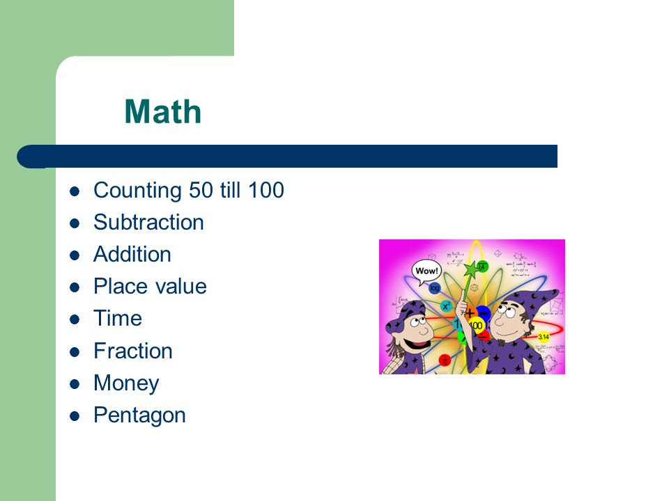 Math Counting 50 till 100 Subtraction Addition Place value Time Fraction Money Pentagon