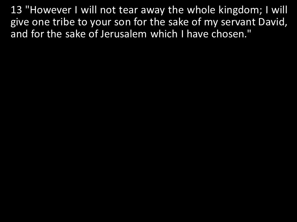 13 However I will not tear away the whole kingdom; I will give one tribe to your son for the sake of my servant David, and for the sake of Jerusalem which I have chosen.