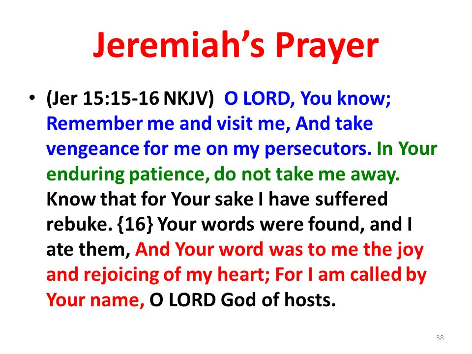 Jeremiahs Prayer (Jer 15:15-16 NKJV) O LORD, You know; Remember me and visit me, And take vengeance for me on my persecutors.