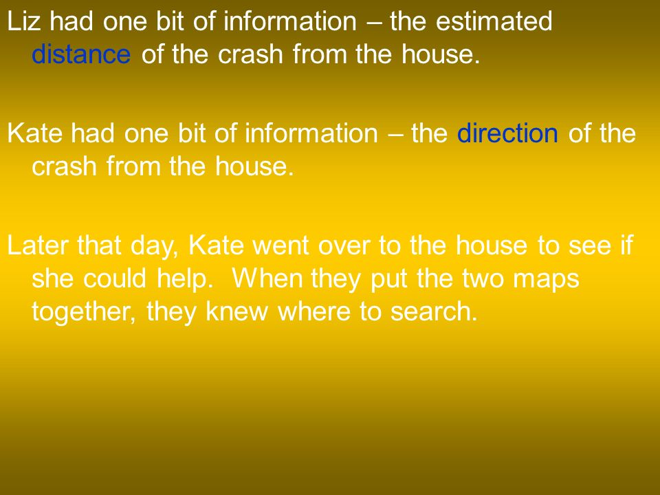 Liz had one bit of information – the estimated distance of the crash from the house.