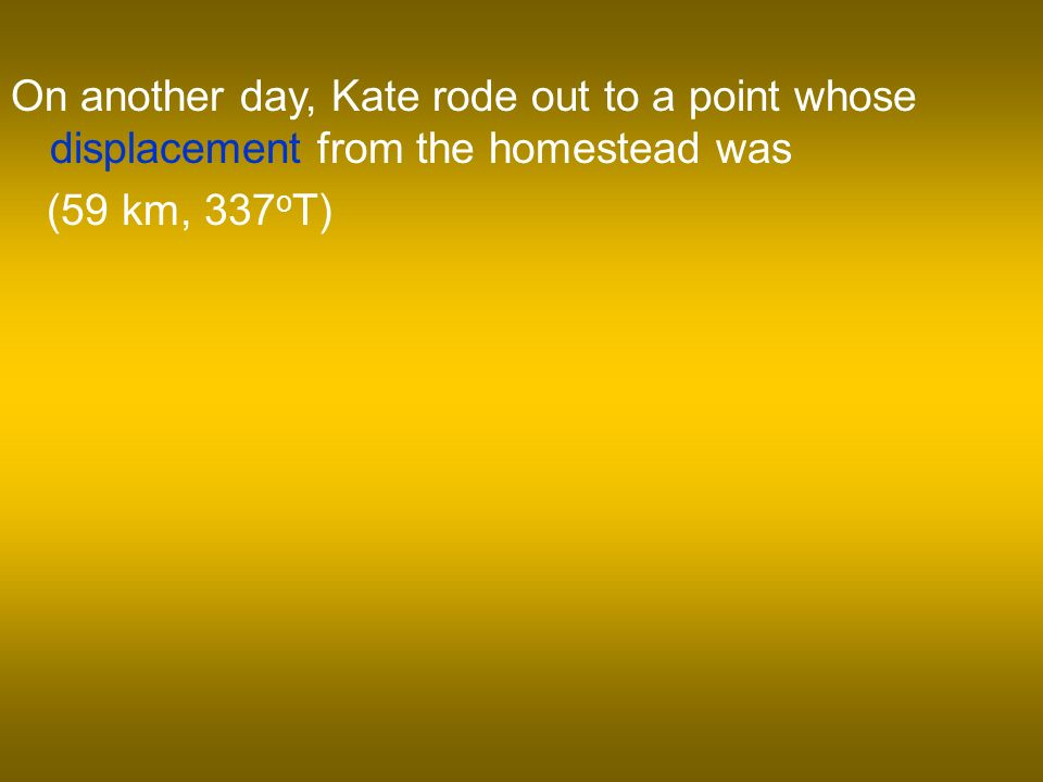 On another day, Kate rode out to a point whose displacement from the homestead was (59 km, 337 o T)