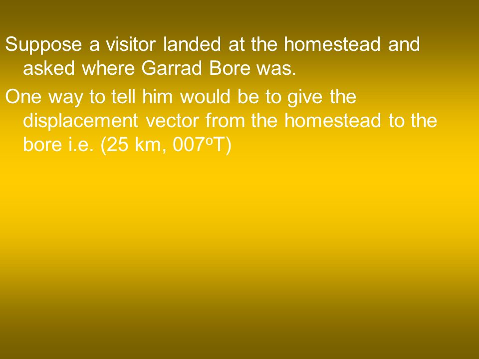 Suppose a visitor landed at the homestead and asked where Garrad Bore was.