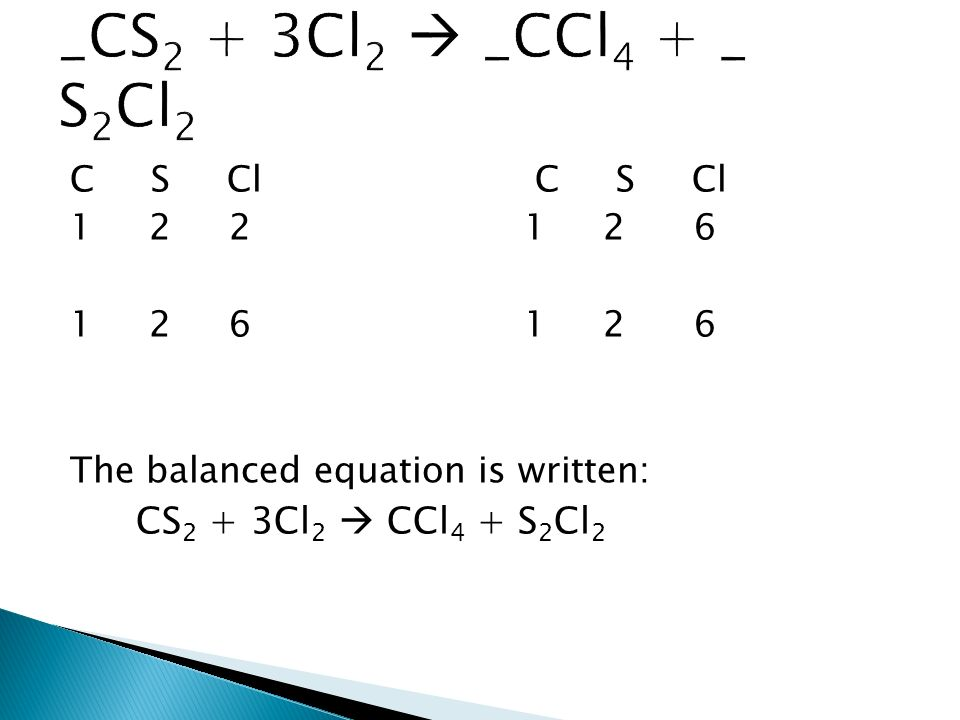 C S Cl 1 2 2 1 2 6 1 2 6 The balanced equation is written: CS 2 + 3Cl 2 CCl 4 + S 2 Cl 2