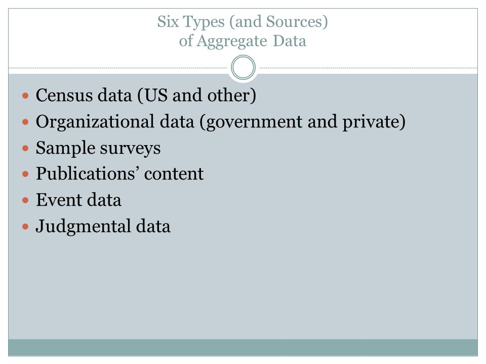 Six Types (and Sources) of Aggregate Data Census data (US and other) Organizational data (government and private) Sample surveys Publications content Event data Judgmental data